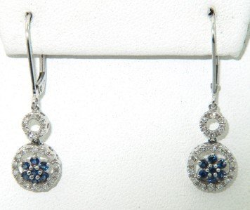 22: 14K White Gold with Diamond and Sapphire Earrings