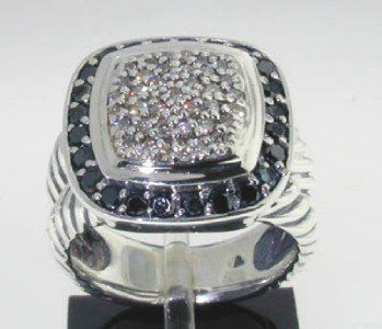 392: David Yurman Silver  Black & White Diamond Ring.