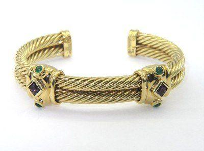 390: David Yurman 14k Yellow Gold Amethyst, Emerald Ban