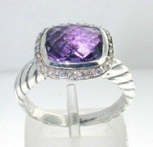 24: David Yurman Silver, Amethyst & Diamond Ring