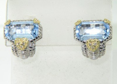 17: Judith Ripka 18K Gold Silver BlueTopaz Diamond Earr