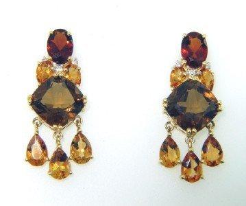 1: 18K Yellow Gold Multi Stone Diamond Earrings