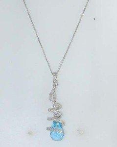 2: 14K White Gold Blue Topaz Diamond Necklace