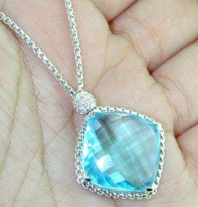 6: David Yurman Silver Blue Topaz Diamond Necklace.