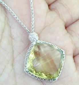 8: David Yurman Silver Lime Citrine Diamond Necklace.