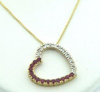10: 10K Yellow Gold, Diamond & Ruby Necklace