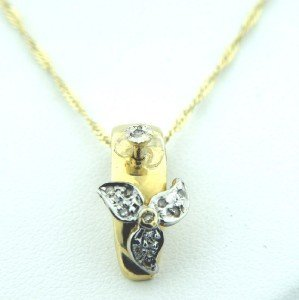 12: 14K Yellow Gold, Diamond Necklace.