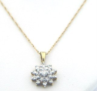 21: 14K Yellow Gold, Diamond Necklace.