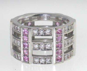 11: 18k white Gold Pink Sapphire, Diamond Ring !