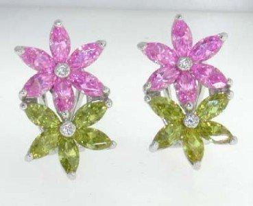 18K White Gold Muti-Color stone & Diamond Earrings