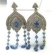 Victorian Silver On 14K Gold Sapphire Diamond Earring