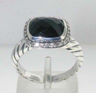 6: David Yurman Silver,Onyx & Diamond Ring