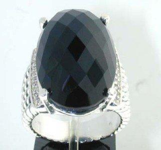 10: David Yurman Silver Diamond Onyx Ring