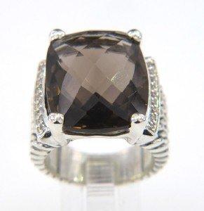 17: David Yurman Silver,Smoky Topaz & Diamond Ring