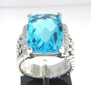 21: David Yurman Silver, Blue Topaz & Diamond Ring