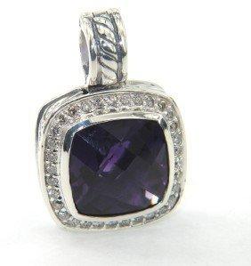 16: David Yurman Silver Amethyst & Diamond Pendant
