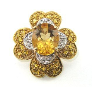 20: 14K Gold Diamond, Yellow Sapphire & Citrine Pendant
