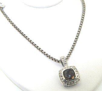 14: David Yurman Silver Smoky Topaz & Diamond Necklace.