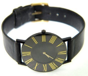 12: Movado Stainless Steel Leather Strap Watch