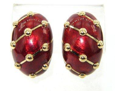 473: Schlumberger Tiffany & Co 18K Gold Enamel Earrings