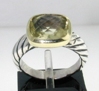 2: David Yurman 18k Gold/ Silver, Prasolite Ring.