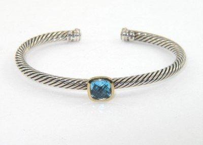 10: David Yurman 18k Yellow Gold/Silver, Blue Topaz Ban