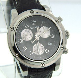 27: Sector Stainless Steel Chronograph Leather Strap Wa