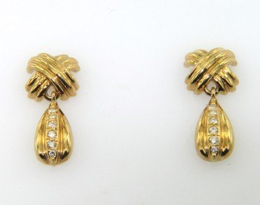 20: Tiffany & Co 18K Yellow Gold Diamond Earrings