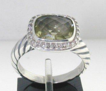 22: David Yurman Silver, Lime Citrine & Diamond Ring