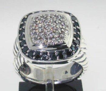 30: David Yurman Silver  Black & White Diamond Ring.