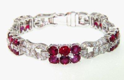 407: Platinum Burma Ruby & Diamond Bracelet