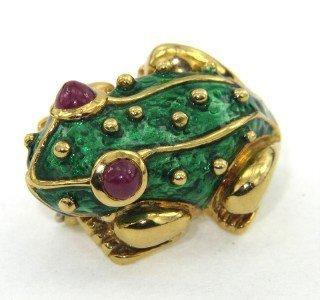 212: 18K Yellow Gold Enamel & Ruby Frog Pin