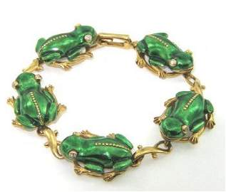 368: Salavetti 18K Yellow Gold, Enamel & Diamond Bracel