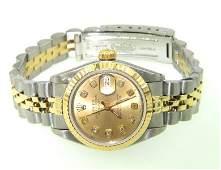 157: Rolex 18K Gold / Stainless Steel Diamond Ladies Wa