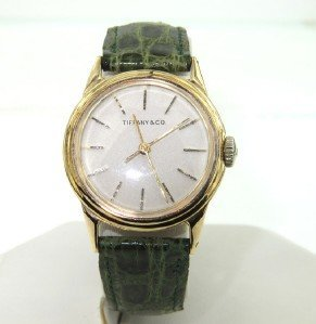Tiffany & Co 14K Yellow Gold, Green Leather Strap
