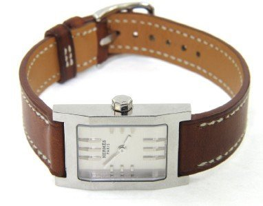 6: Hermes Stainless Steel Leather Strap Watch