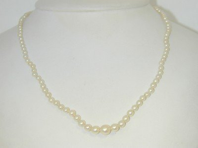 Mikimoto 18k  Yellow Gold Pearl Necklace,
