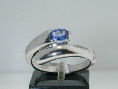 Bvlgari 18K White Gold Sapphire Ring.