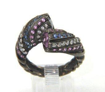 Salavetti 18K Black Gold Sapphire & Diamond Ring