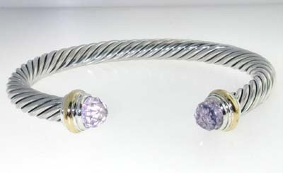 David Yurman Silver,14K Gold, Lavender Amethyst Bangle