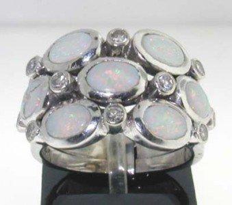 14k White Gold Opal Diamond Ring.