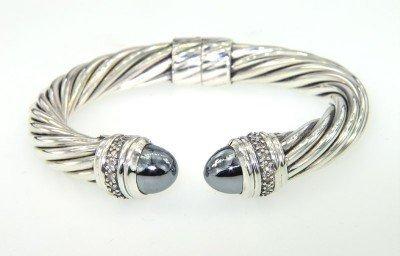 David Yurman Silver Hematite & Diamond Bangle