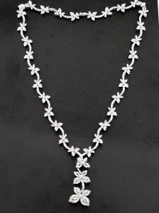 18K White Gold, Diamond Necklace.