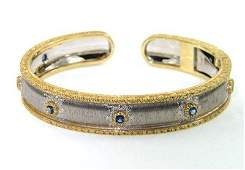 Buccellati 18K Two-Toned Gold, Sapphire Bangle