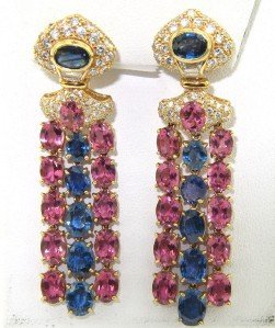 Salavetti 18K Yellow Gold Diamond Sapphire Earring
