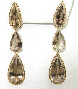 6: 18K Yellow Gold  Smoky Topaz & Diamond Earrings