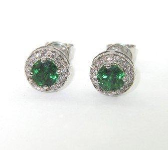 4: 18K White Gold Tsavorite Diamond Earrings