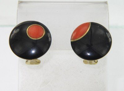 Tiffany & Co 18K  Yellow Gold Coral Earrings