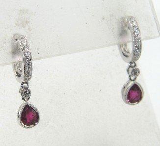 18K White Gold Ruby Diamond Earrings
