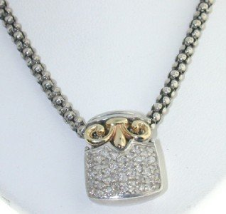 14K Yellow Gold And Silver Diamond Necklace